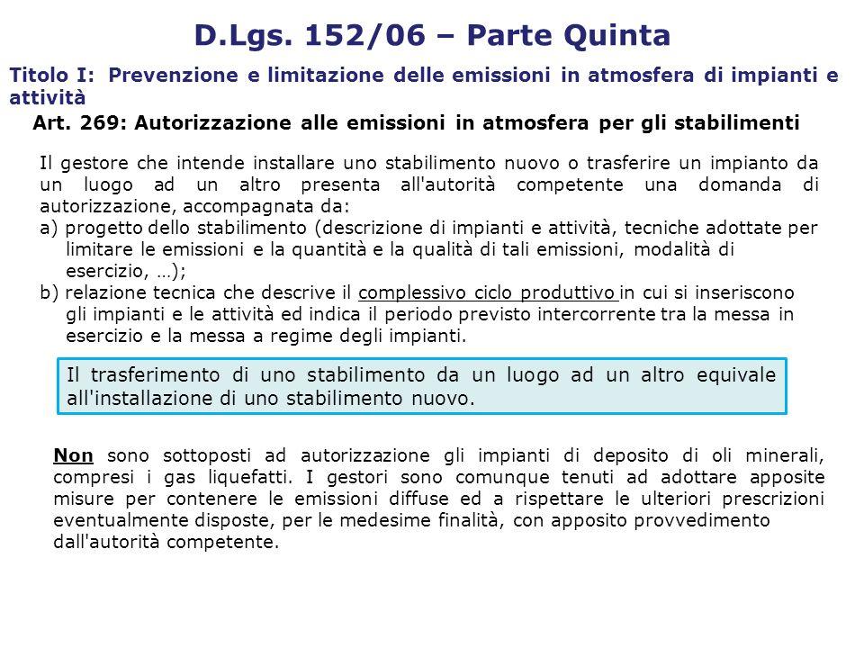 Art. 269: Autorizzazione alle emissioni in atmosfera per gli stabilimenti D.Lgs. 152/06 – Parte Quinta Titolo I: Prevenzione e limitazione delle emiss
