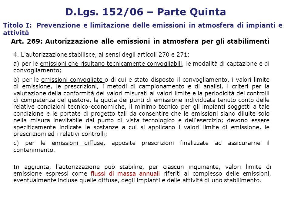4. L'autorizzazione stabilisce, ai sensi degli articoli 270 e 271: a) per le emissioni che risultano tecnicamente convogliabili, le modalità di captaz