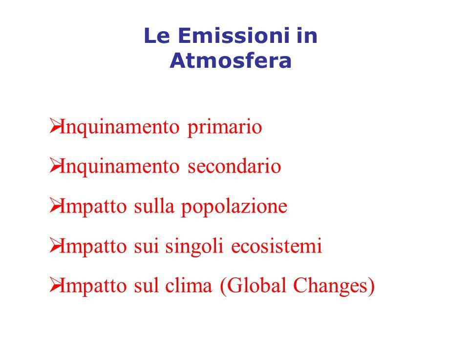 Le Emissioni in Atmosfera Inquinamento primario Inquinamento secondario Impatto sulla popolazione Impatto sui singoli ecosistemi Impatto sul clima (Gl