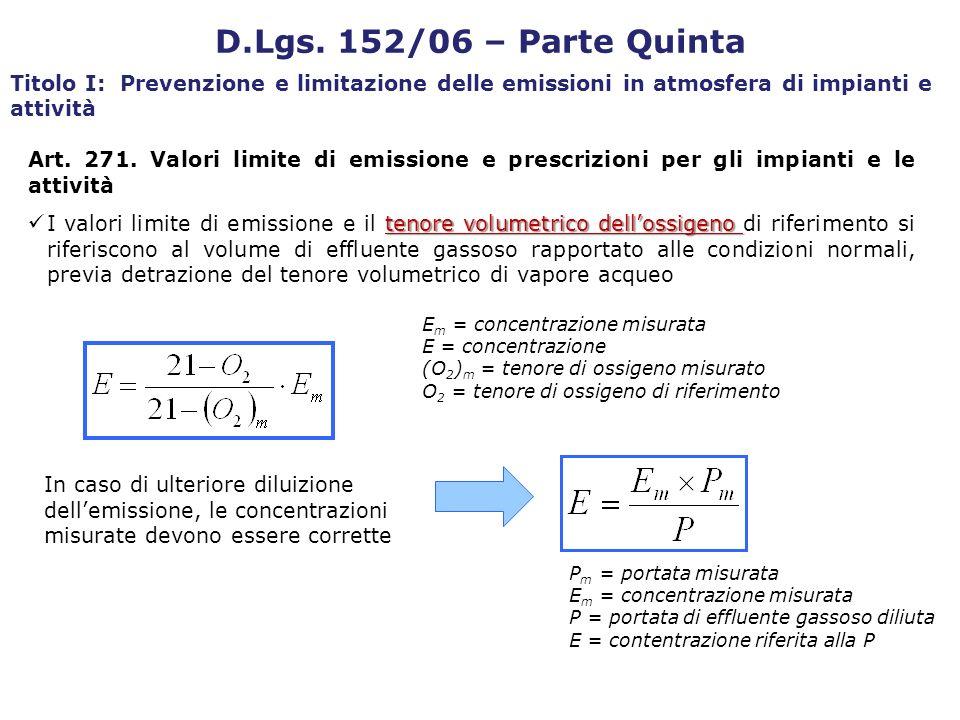 Art. 271. Valori limite di emissione e prescrizioni per gli impianti e le attività tenore volumetrico dellossigeno I valori limite di emissione e il t