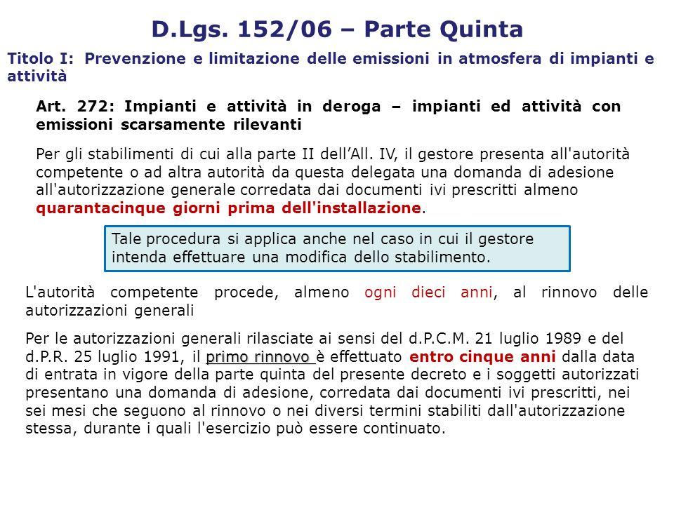 D.Lgs. 152/06 – Parte Quinta Titolo I: Prevenzione e limitazione delle emissioni in atmosfera di impianti e attività Art. 272: Impianti e attività in
