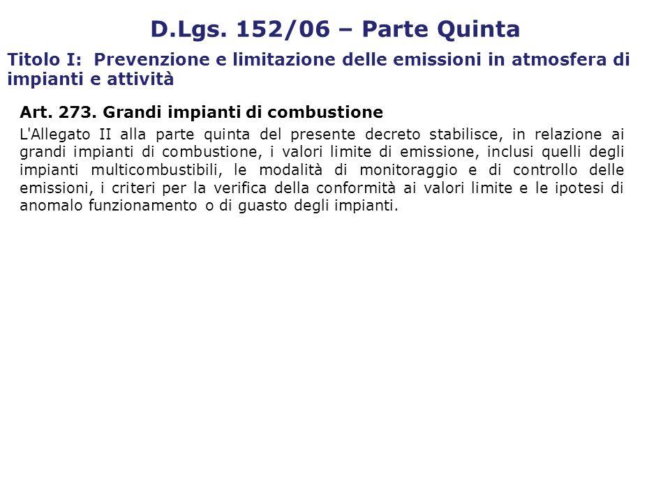Art. 273. Grandi impianti di combustione L'Allegato II alla parte quinta del presente decreto stabilisce, in relazione ai grandi impianti di combustio