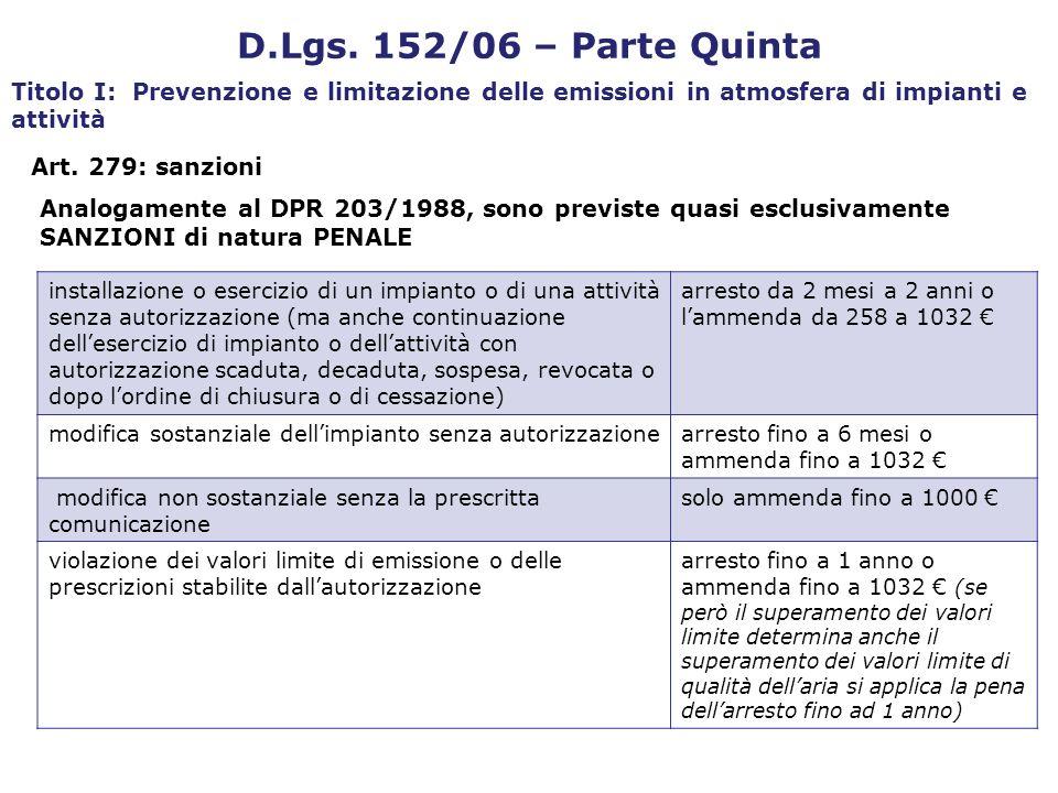Art. 279: sanzioni D.Lgs. 152/06 – Parte Quinta Titolo I: Prevenzione e limitazione delle emissioni in atmosfera di impianti e attività Analogamente a