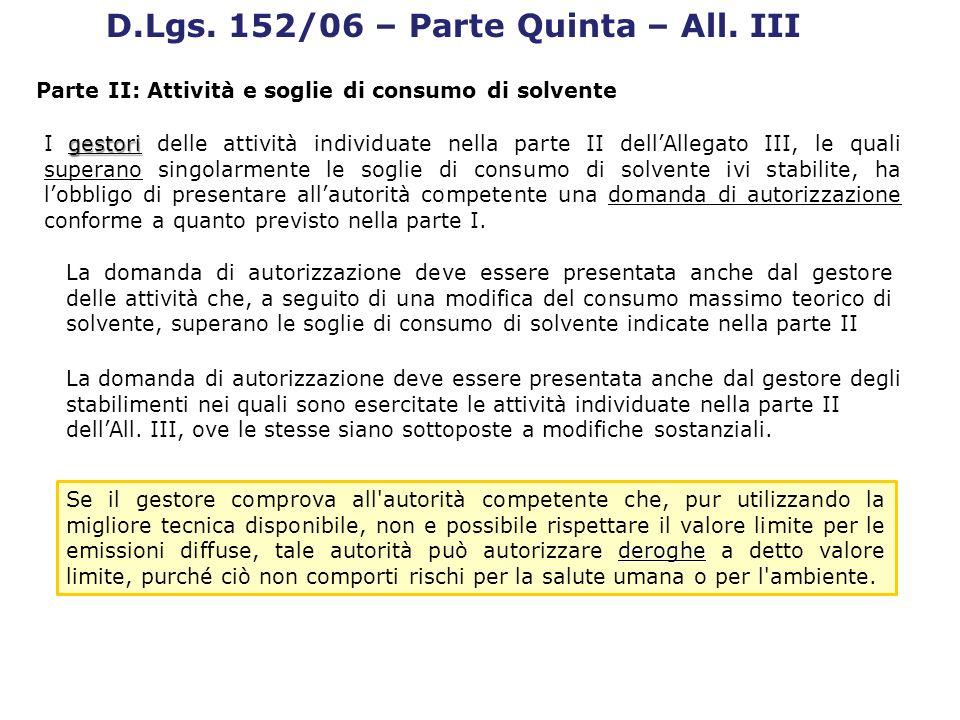 gestori I gestori delle attività individuate nella parte II dellAllegato III, le quali superano singolarmente le soglie di consumo di solvente ivi sta