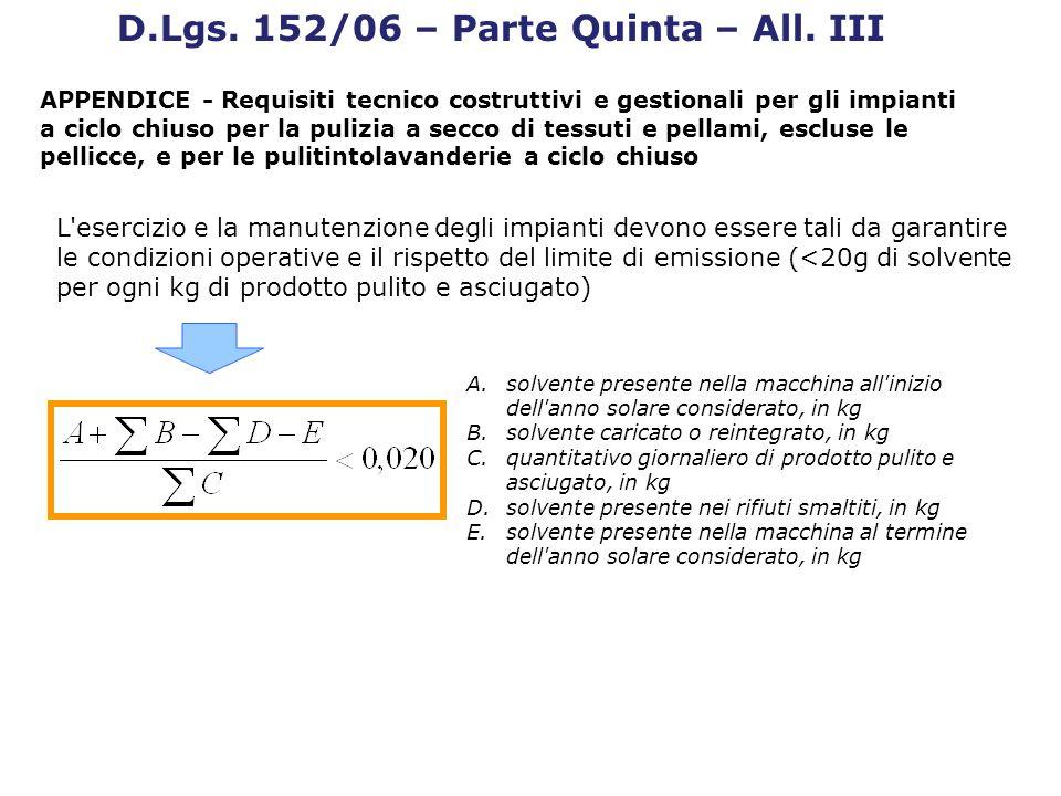 D.Lgs. 152/06 – Parte Quinta – All. III APPENDICE - Requisiti tecnico costruttivi e gestionali per gli impianti a ciclo chiuso per la pulizia a secco