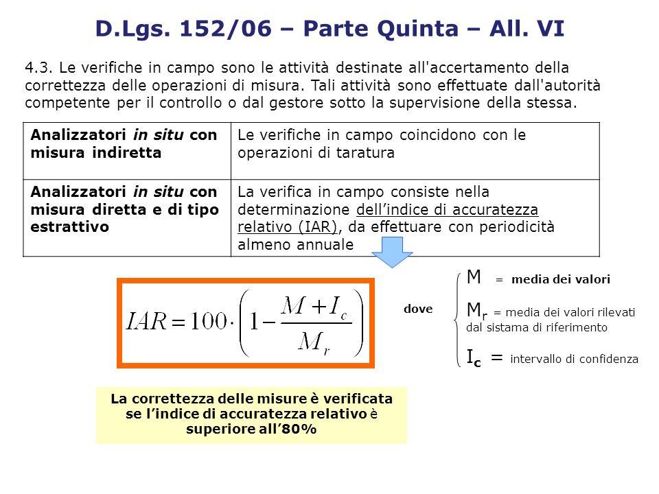 M = media dei valori M r = media dei valori rilevati dal sistama di riferimento I c = intervallo di confidenza dove La correttezza delle misure è veri