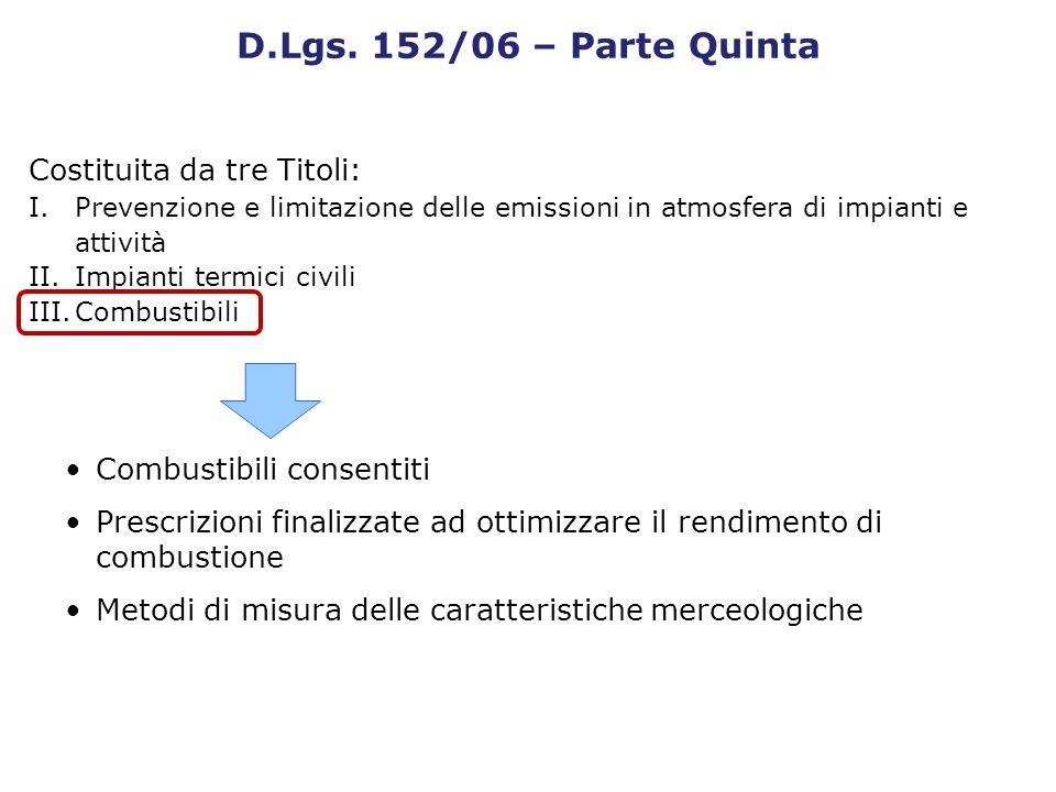 Costituita da tre Titoli: I.Prevenzione e limitazione delle emissioni in atmosfera di impianti e attività II.Impianti termici civili III.Combustibili