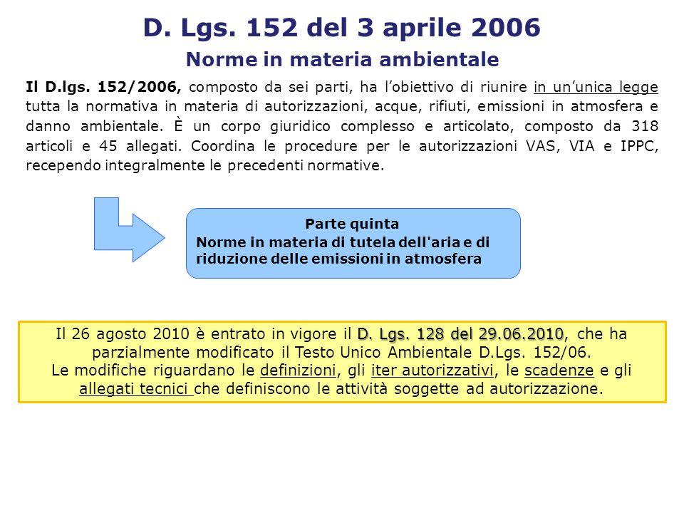 Il D.lgs. 152/2006, composto da sei parti, ha lobiettivo di riunire in ununica legge tutta la normativa in materia di autorizzazioni, acque, rifiuti,