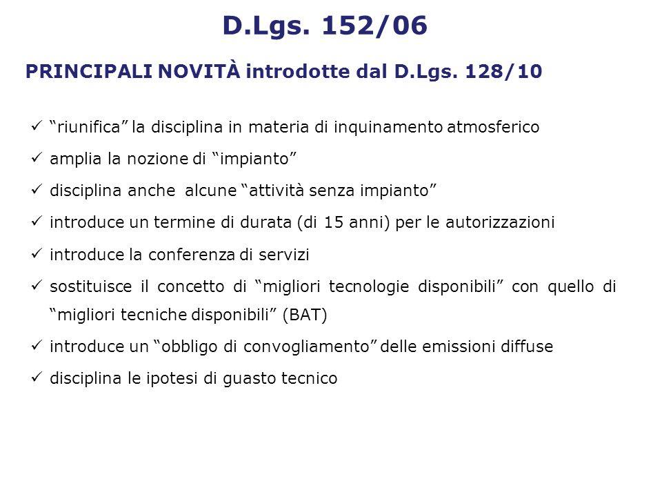 PRINCIPALI NOVITÀ introdotte dal D.Lgs. 128/10 riunifica la disciplina in materia di inquinamento atmosferico amplia la nozione di impianto disciplina