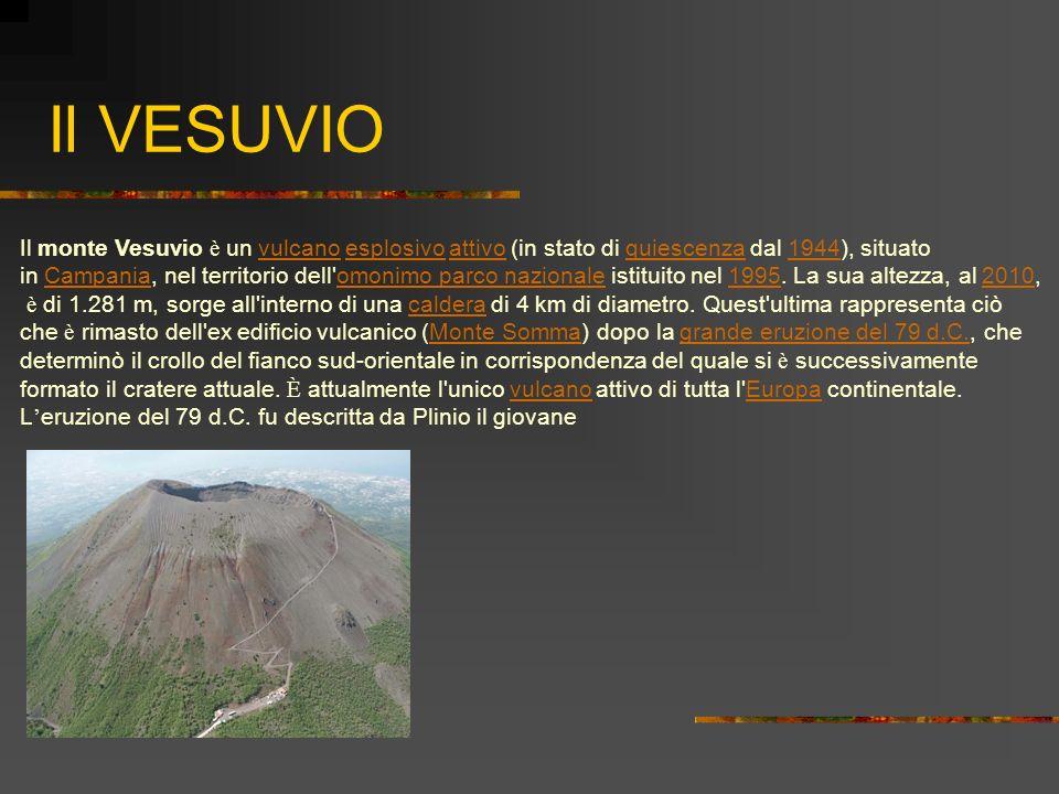 Il VESUVIO Il monte Vesuvio è un vulcano esplosivo attivo (in stato di quiescenza dal 1944), situato vulcano esplosivo attivo quiescenza 1944 in Campa