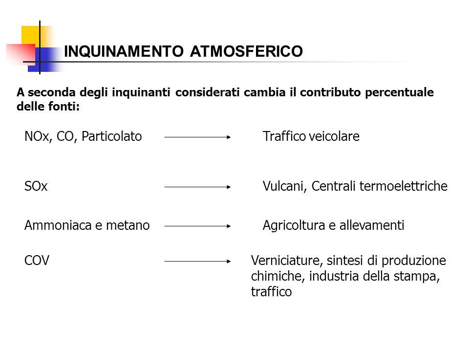 INQUINAMENTO ATMOSFERICO A seconda degli inquinanti considerati cambia il contributo percentuale delle fonti: NOx, CO, ParticolatoTraffico veicolare S