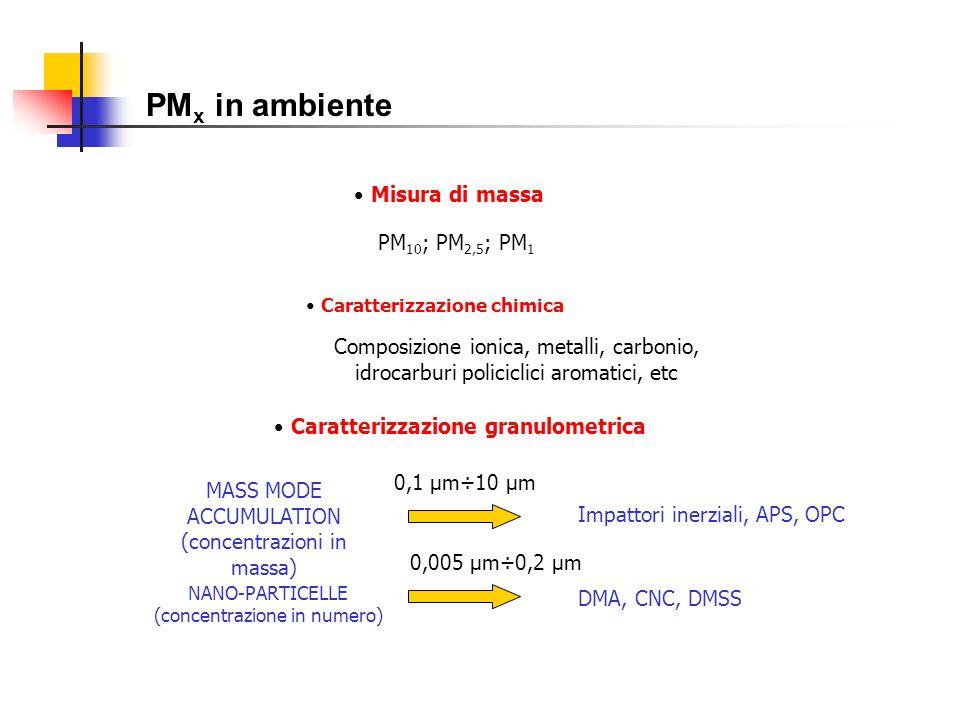 PM x in ambiente Misura di massa Caratterizzazione chimica Caratterizzazione granulometrica PM 10 ; PM 2,5 ; PM 1 Composizione ionica, metalli, carbon