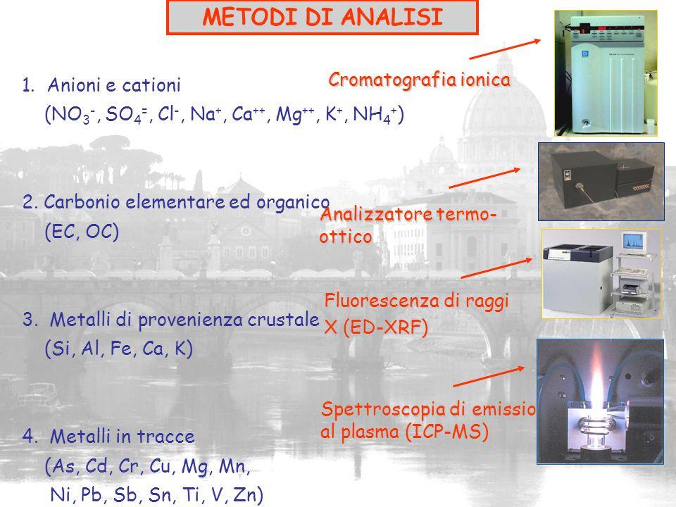 1. Anioni e cationi (NO 3 -, SO 4 =, Cl -, Na +, Ca ++, Mg ++, K +, NH 4 + ) 2. Carbonio elementare ed organico (EC, OC) 3. Metalli di provenienza cru