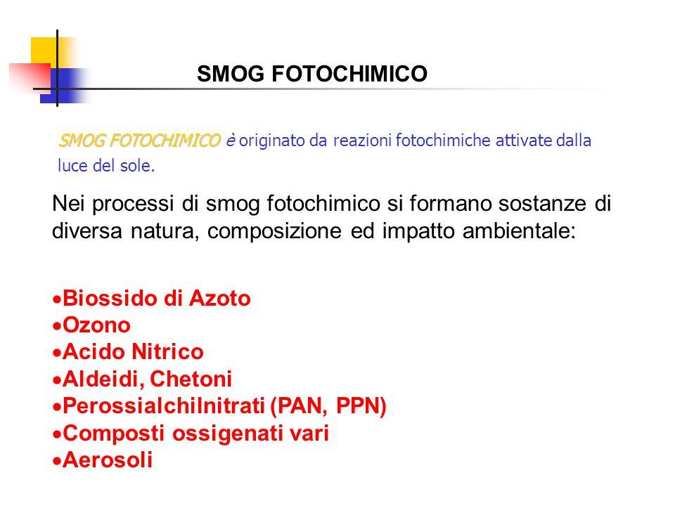 SMOG FOTOCHIMICO Nei processi di smog fotochimico si formano sostanze di diversa natura, composizione ed impatto ambientale: Biossido di Azoto Ozono A