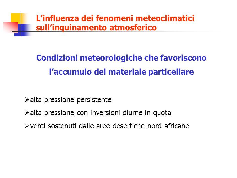Condizioni meteorologiche che favoriscono laccumulo del materiale particellare alta pressione persistente alta pressione con inversioni diurne in quot