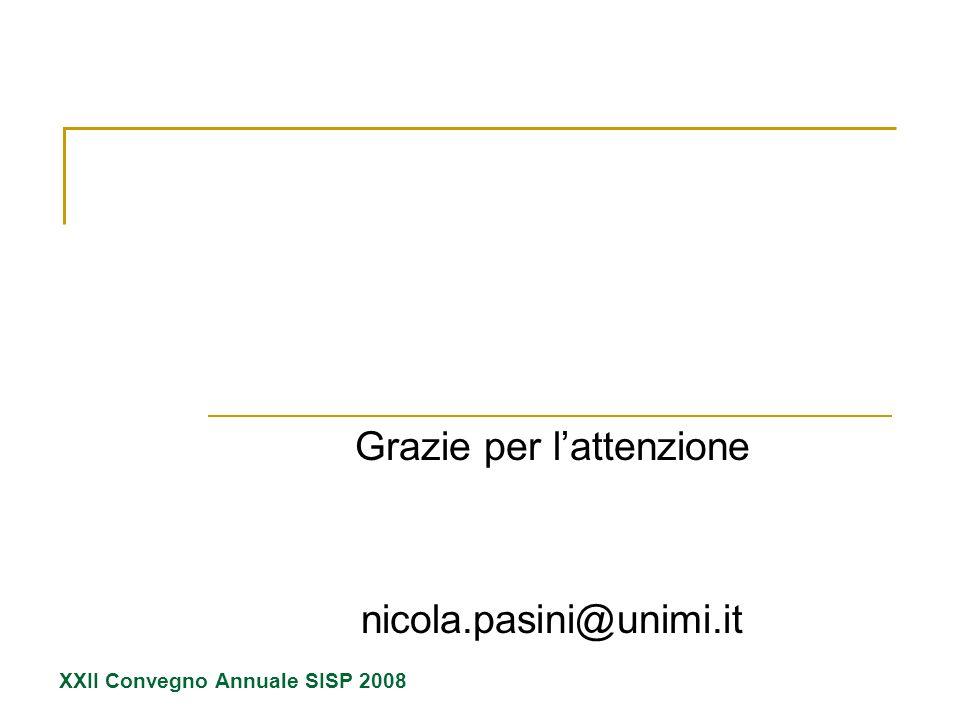 Grazie per lattenzione nicola.pasini@unimi.it XXII Convegno Annuale SISP 2008