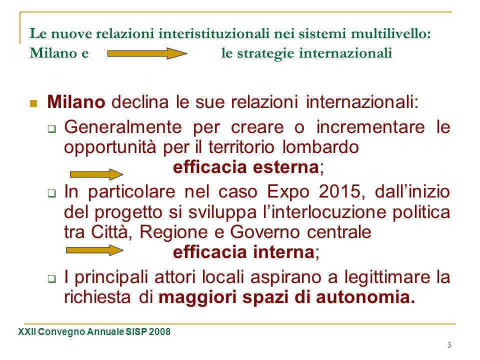 3 Le nuove relazioni interistituzionali nei sistemi multilivello: Milano e le strategie internazionali Milano declina le sue relazioni internazionali: