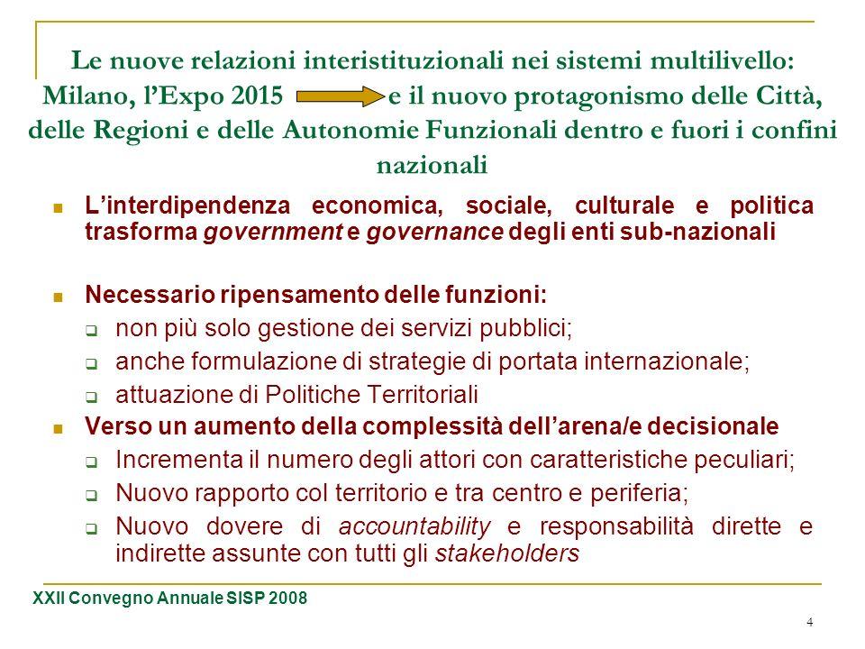 4 Le nuove relazioni interistituzionali nei sistemi multilivello: Milano, lExpo 2015 e il nuovo protagonismo delle Città, delle Regioni e delle Autono