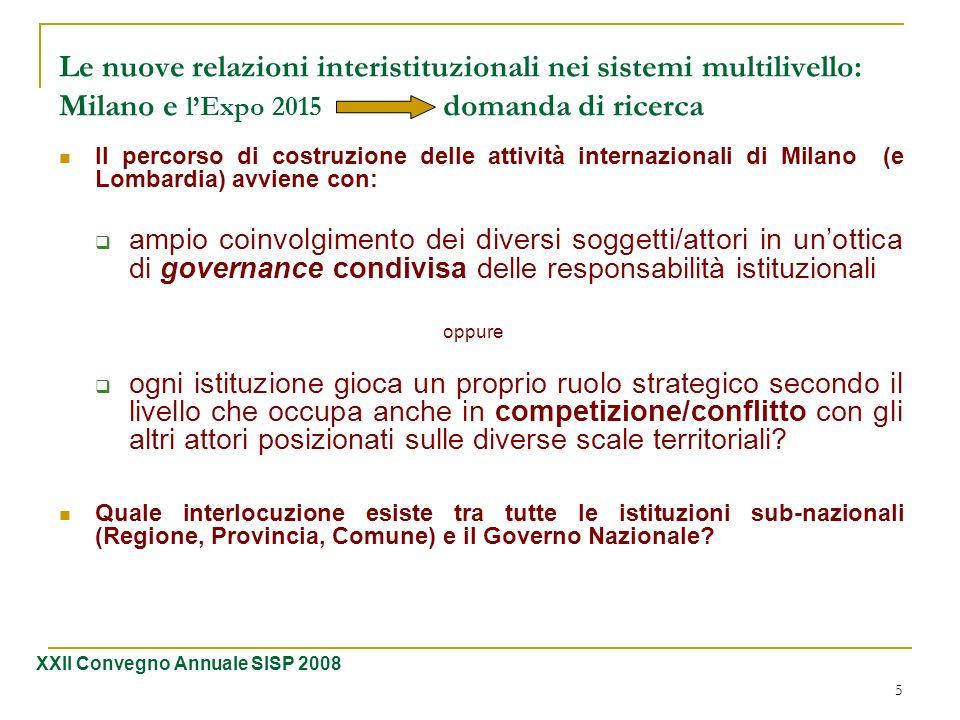 6 Le nuove relazioni interistituzionali nei sistemi multilivello: Milano e lExpo 2015 modalità di interazione 1 La modalità di interazione tra i diversi attori dipende dalla posta in gioco del momento….