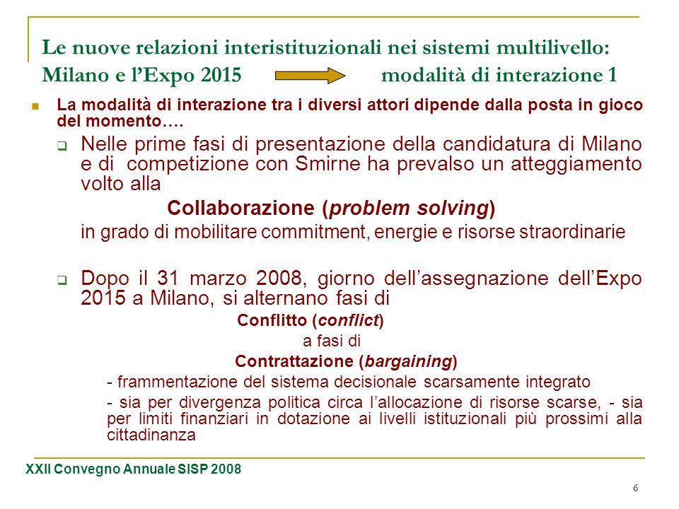 6 Le nuove relazioni interistituzionali nei sistemi multilivello: Milano e lExpo 2015 modalità di interazione 1 La modalità di interazione tra i diver