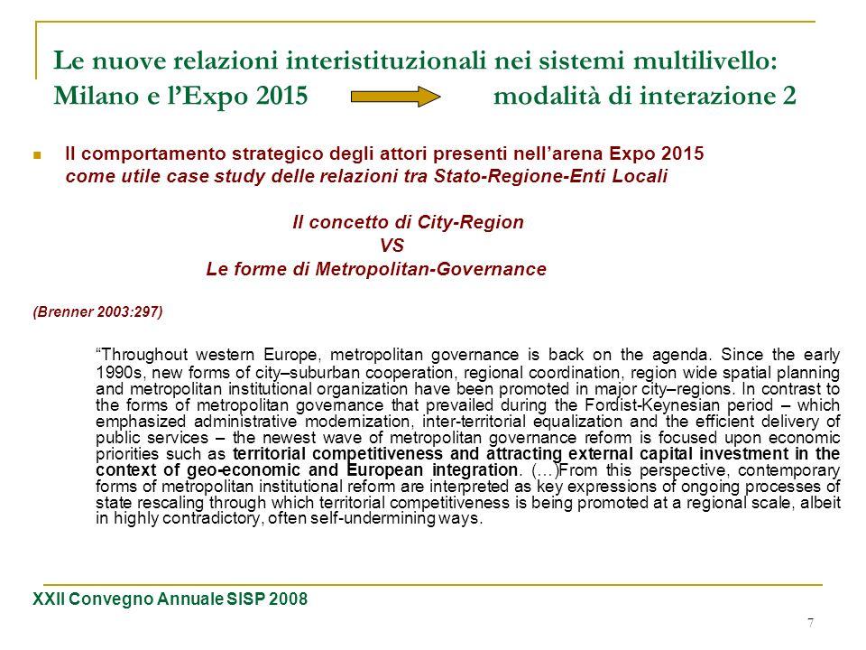 7 Le nuove relazioni interistituzionali nei sistemi multilivello: Milano e lExpo 2015 modalità di interazione 2 Il comportamento strategico degli atto