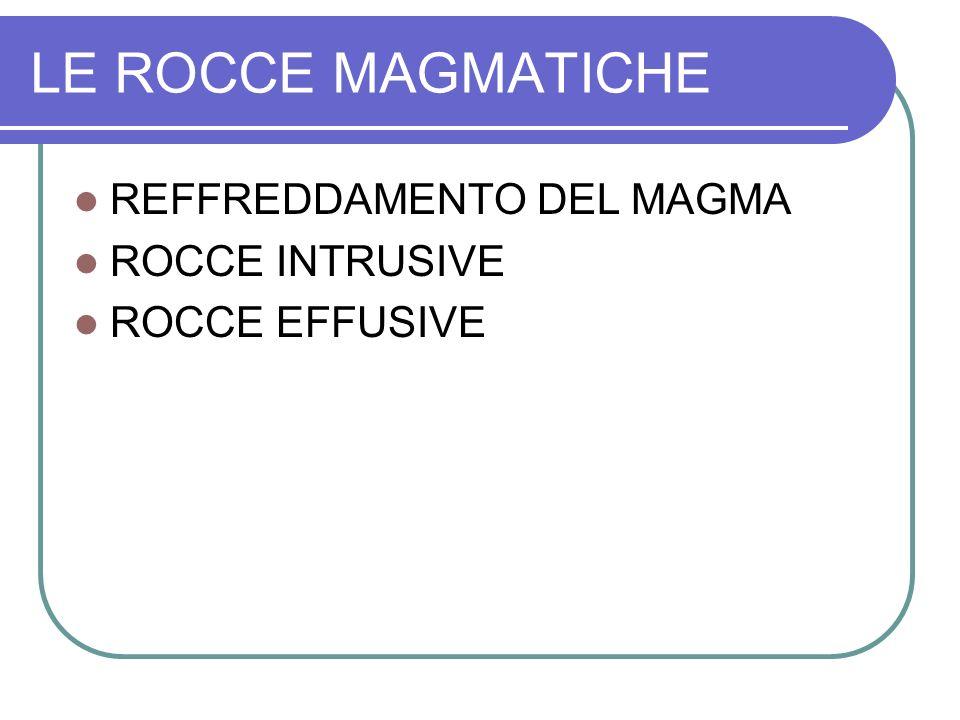 LE ROCCE MAGMATICHE REFFREDDAMENTO DEL MAGMA ROCCE INTRUSIVE ROCCE EFFUSIVE