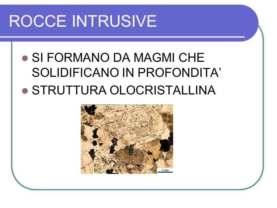 ROCCE INTRUSIVE SI FORMANO DA MAGMI CHE SOLIDIFICANO IN PROFONDITA STRUTTURA OLOCRISTALLINA