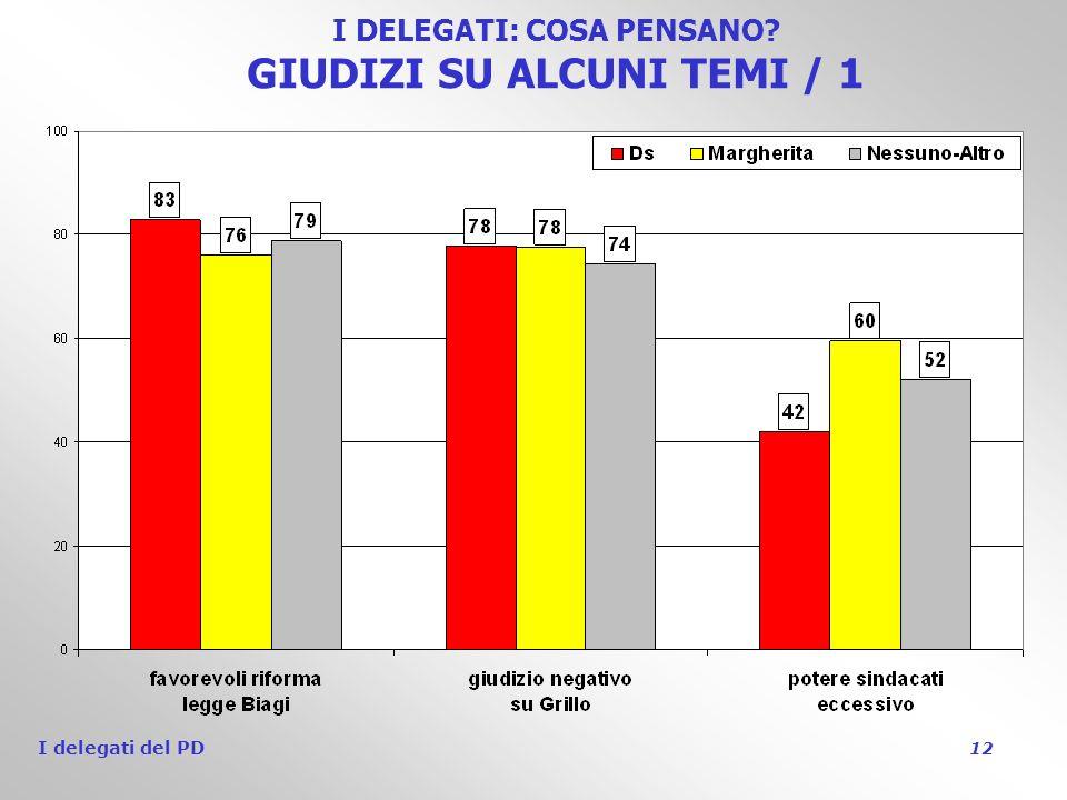 I delegati del PD 12 I DELEGATI: COSA PENSANO GIUDIZI SU ALCUNI TEMI / 1