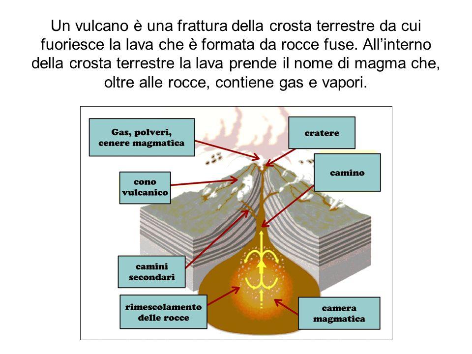 Un vulcano in azione I vulcani si dividono in: Attivi: le eruzioni sono frequenti o continue Quiescenti: il vulcano mostra segni di attività (emissione di gas) ma non erutta da un certo periodo di tempo Spenti: la camera magmatica si è svuotata.