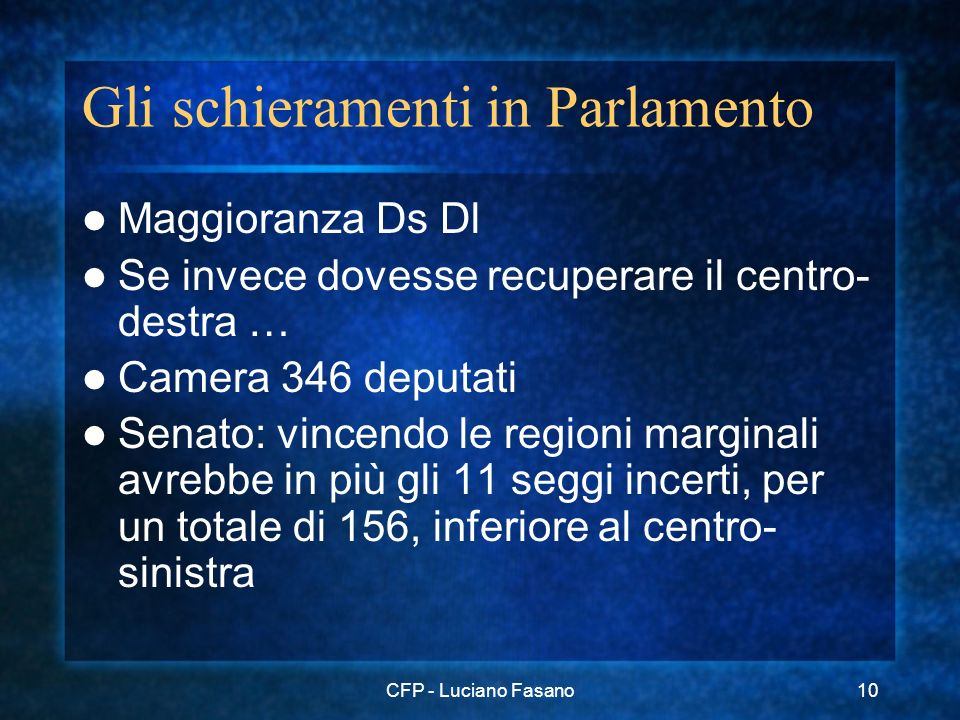 CFP - Luciano Fasano10 Gli schieramenti in Parlamento Maggioranza Ds Dl Se invece dovesse recuperare il centro- destra … Camera 346 deputati Senato: vincendo le regioni marginali avrebbe in più gli 11 seggi incerti, per un totale di 156, inferiore al centro- sinistra