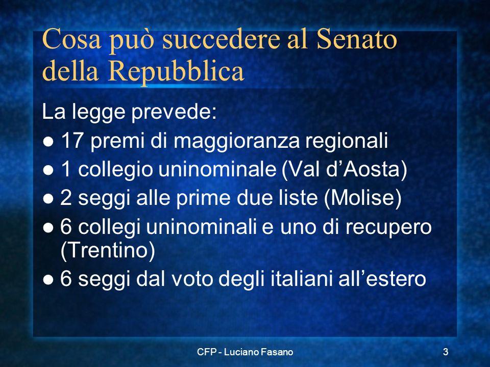 CFP - Luciano Fasano3 Cosa può succedere al Senato della Repubblica La legge prevede: 17 premi di maggioranza regionali 1 collegio uninominale (Val dA