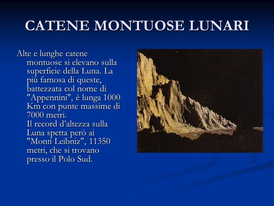 CATENE MONTUOSE LUNARI Alte e lunghe catene montuose si elevano sulla superficie della Luna. La più famosa di queste, battezzata col nome di
