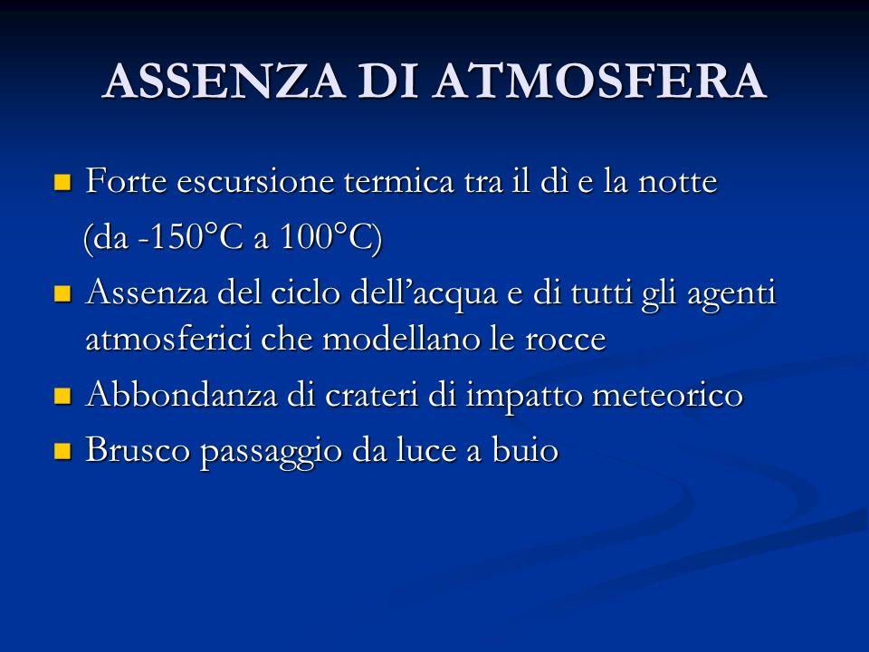ASSENZA DI ATMOSFERA Forte escursione termica tra il dì e la notte Forte escursione termica tra il dì e la notte (da -150°C a 100°C) (da -150°C a 100°
