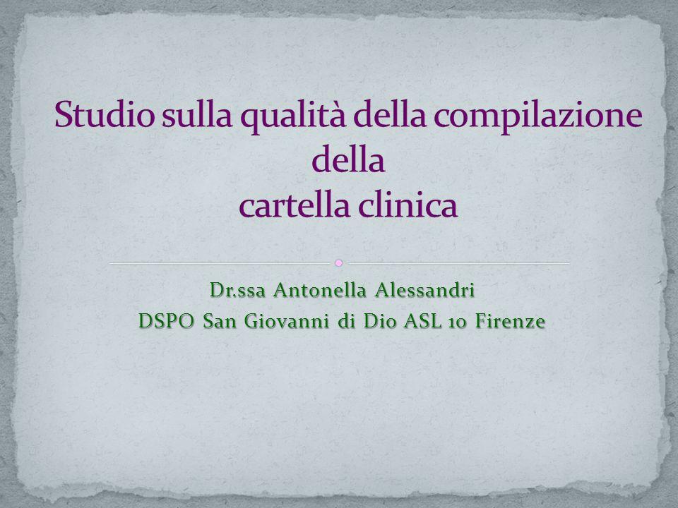 Dr.ssa Antonella Alessandri DSPO San Giovanni di Dio ASL 10 Firenze