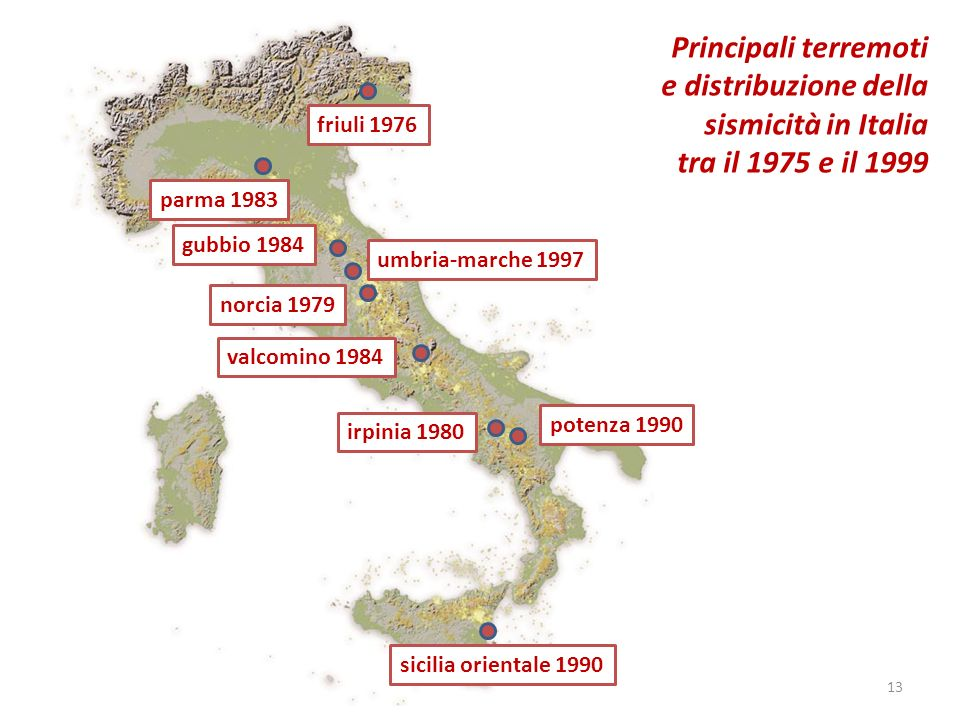 friuli 1976 parma 1983 gubbio 1984 umbria-marche 1997 norcia 1979 valcomino 1984 irpinia 1980 potenza 1990 sicilia orientale 1990 Principali terremoti