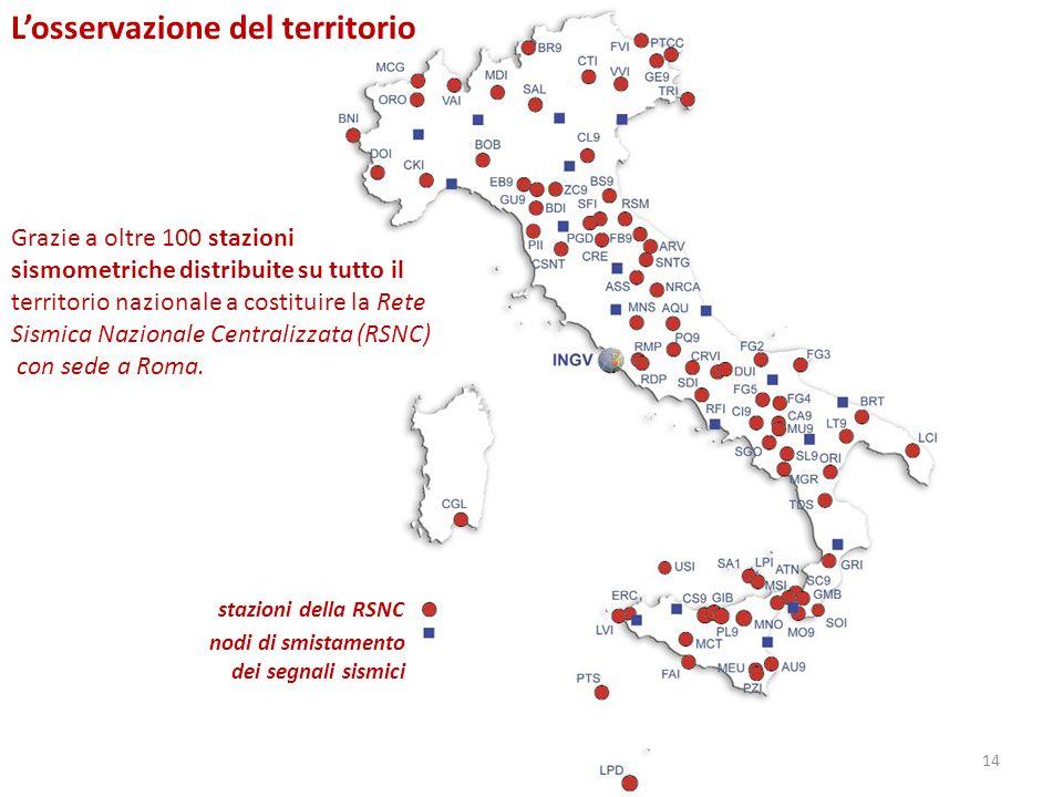 stazioni della RSNC nodi di smistamento dei segnali sismici Losservazione del territorio Grazie a oltre 100 stazioni sismometriche distribuite su tutt
