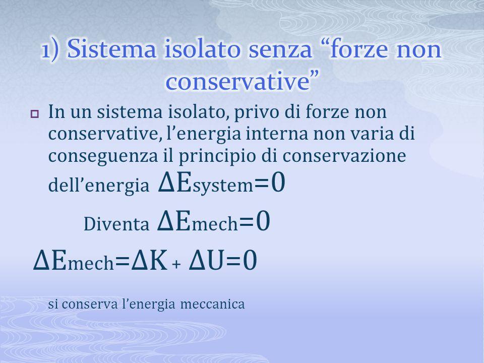 In un sistema isolato, privo di forze non conservative, lenergia interna non varia di conseguenza il principio di conservazione dellenergia ΔE system