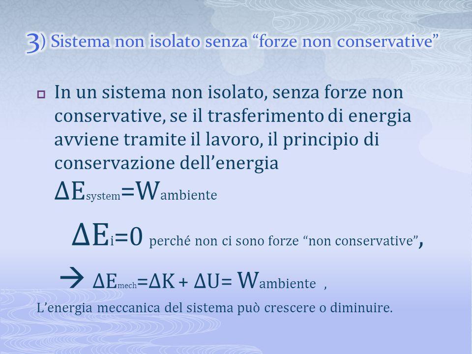 In un sistema non isolato, senza forze non conservative, se il trasferimento di energia avviene tramite il lavoro, il principio di conservazione delle