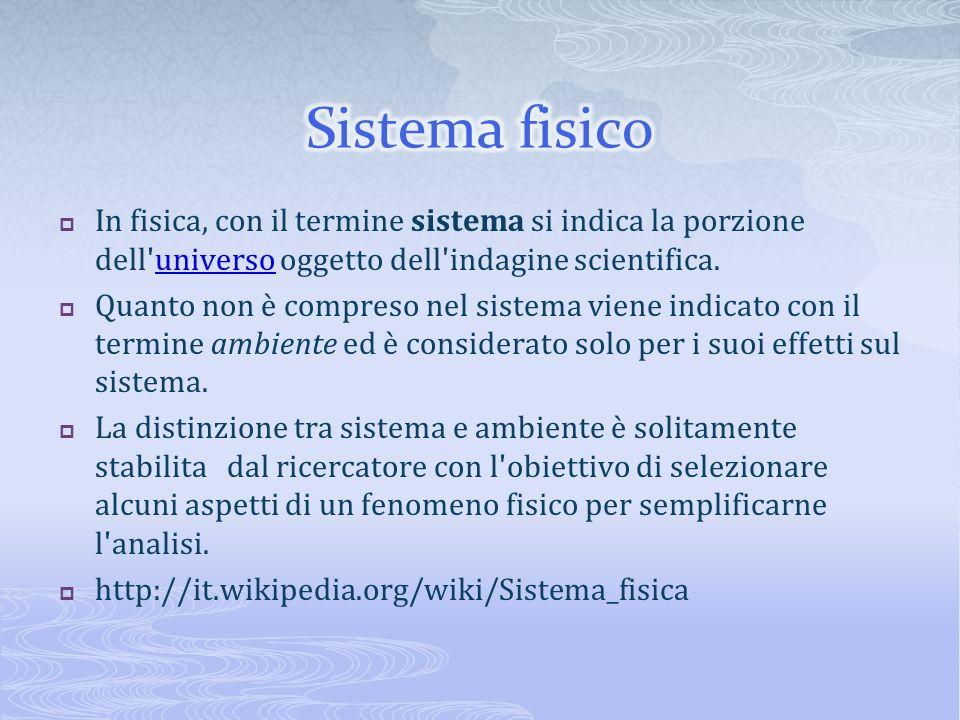 In fisica, con il termine sistema si indica la porzione dell'universo oggetto dell'indagine scientifica.universo Quanto non è compreso nel sistema vie