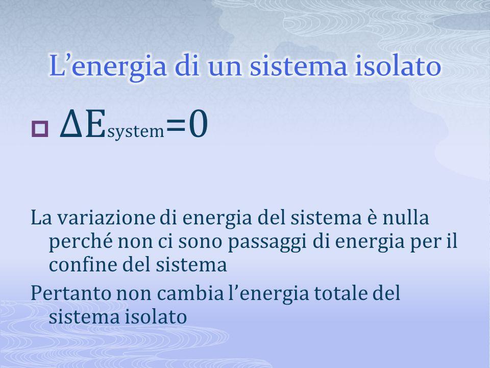 ΔE system =0 La variazione di energia del sistema è nulla perché non ci sono passaggi di energia per il confine del sistema Pertanto non cambia lenerg