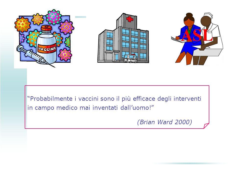 Probabilmente i vaccini sono il più efficace degli interventi in campo medico mai inventati dalluomo! (Brian Ward 2000)