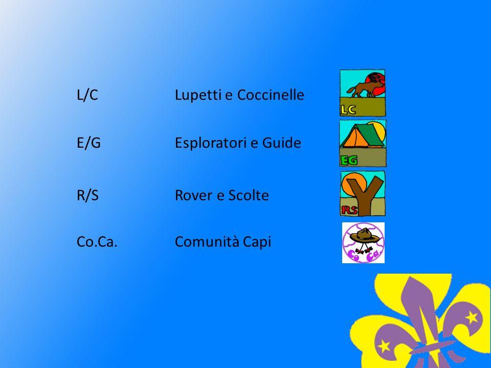 L/CLupetti e Coccinelle E/GEsploratori e Guide R/SRover e Scolte Co.Ca.Comunità Capi