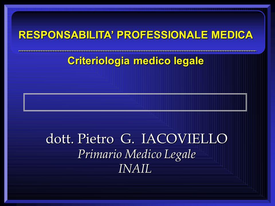 dott. Pietro G. IACOVIELLO Primario Medico Legale INAIL RESPONSABILITA PROFESSIONALE MEDICA Criteriologia medico legale