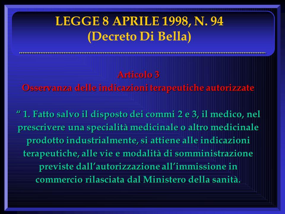 LEGGE 8 APRILE 1998, N. 94 (Decreto Di Bella) Articolo 3 Osservanza delle indicazioni terapeutiche autorizzate 1. Fatto salvo il disposto dei commi 2