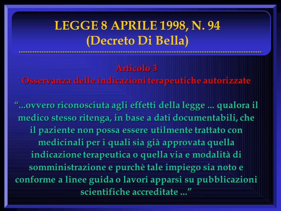 LEGGE 8 APRILE 1998, N. 94 (Decreto Di Bella) Articolo 3 Osservanza delle indicazioni terapeutiche autorizzate...ovvero riconosciuta agli effetti dell