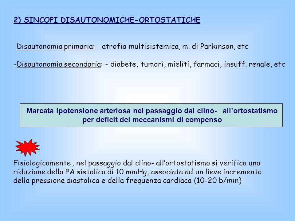 2) SINCOPI DISAUTONOMICHE-ORTOSTATICHE -Disautonomia primaria: - atrofia multisistemica, m. di Parkinson, etc -Disautonomia secondaria: - diabete, tum