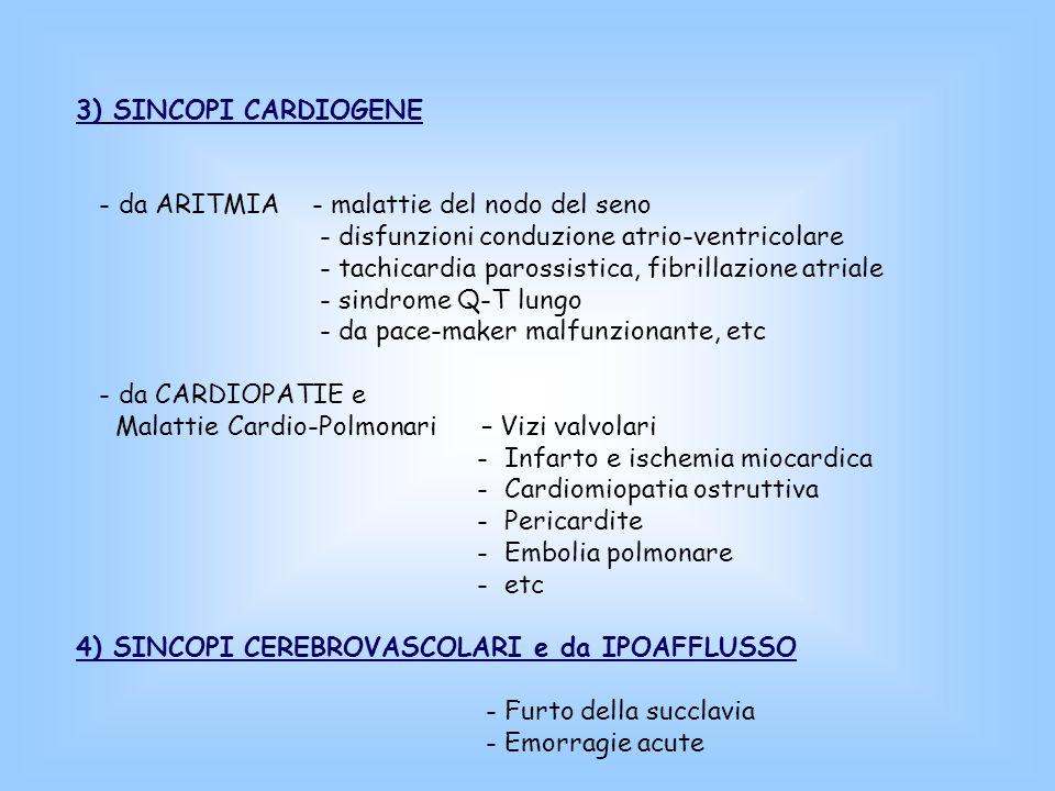 3) SINCOPI CARDIOGENE - da ARITMIA - malattie del nodo del seno - disfunzioni conduzione atrio-ventricolare - tachicardia parossistica, fibrillazione