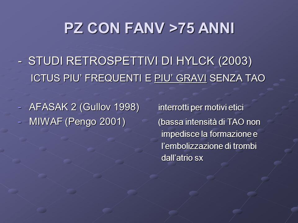 PZ CON FANV >75 ANNI - STUDI RETROSPETTIVI DI HYLCK (2003) ICTUS PIU FREQUENTI E PIU GRAVI SENZA TAO ICTUS PIU FREQUENTI E PIU GRAVI SENZA TAO -AFASAK 2 (Gullov 1998) interrotti per motivi etici -MIWAF (Pengo 2001) (bassa intensità di TAO non impedisce la formazione e impedisce la formazione e lembolizzazione di trombi lembolizzazione di trombi dallatrio sx dallatrio sx