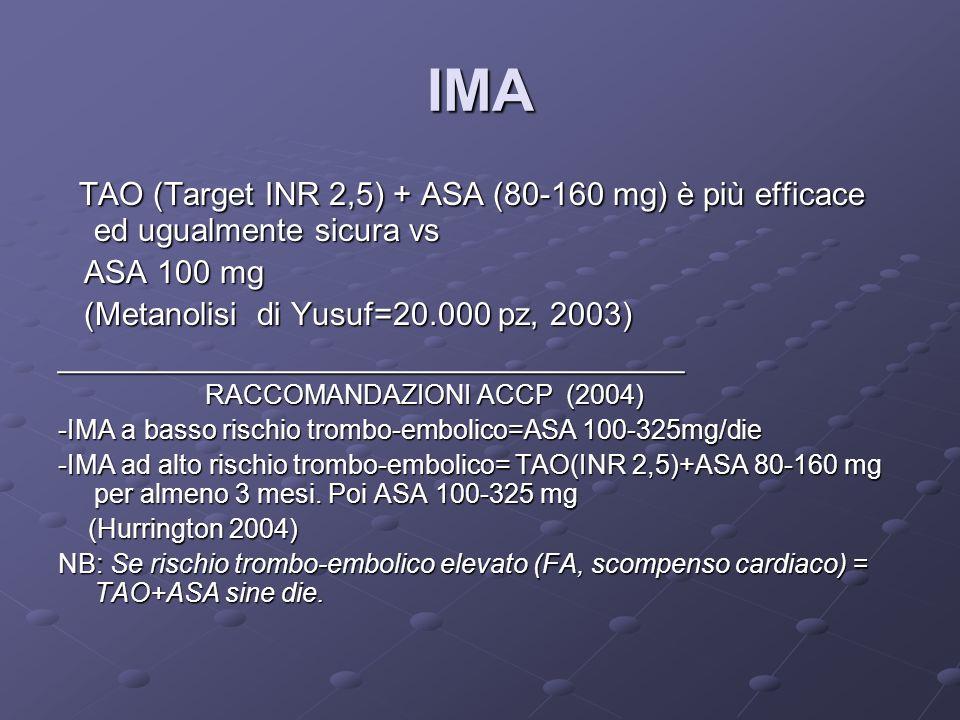IMA TAO (Target INR 2,5) + ASA (80-160 mg) è più efficace ed ugualmente sicura vs TAO (Target INR 2,5) + ASA (80-160 mg) è più efficace ed ugualmente