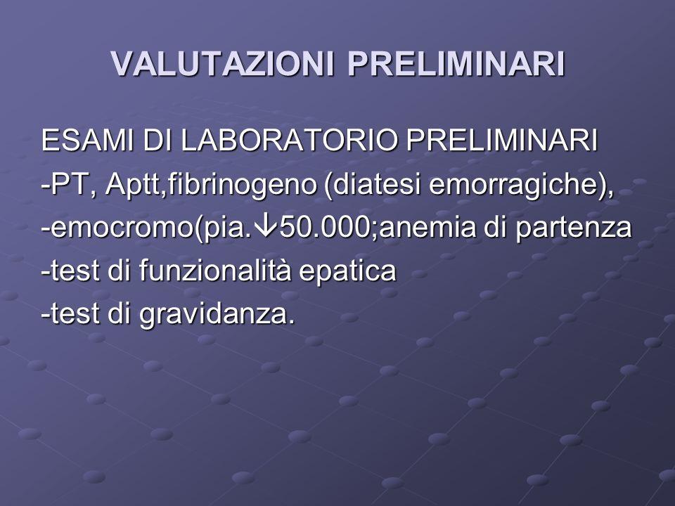 VALUTAZIONI PRELIMINARI ESAMI DI LABORATORIO PRELIMINARI -PT, Aptt,fibrinogeno (diatesi emorragiche), -emocromo(pia. 50.000;anemia di partenza -test d